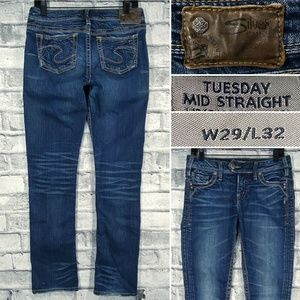 Silver Jeans Tuesday Mid Straight 29 x 32 Bootcut